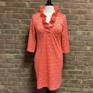 Gretchen Scott Orange/Pink Ruffle Neck Dress